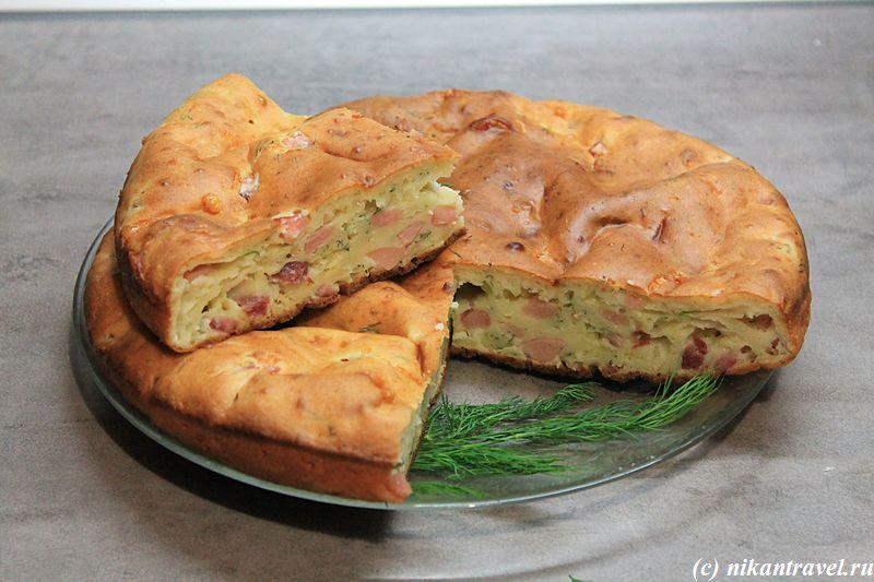 Пирог с ветчиной и сыром в мультиварке рецепт с фото